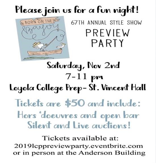 Loyola Style Show Preview Party Flyer